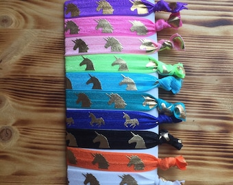 Unicorn Hair Ties | Set of 10 | Fold Over Elastic Ties | Unicorn Favors | Leggings Hair Ties | Pony tail holders | Thank you gift