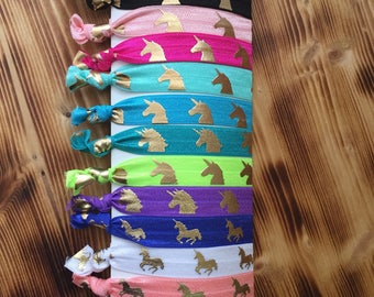Unicorn Hair Ties | Fold Over Elastic Ties | Unicorn Favors | Leggings Hair Ties | Pony tail holders | Thank you gift | Bulk Hair Ties