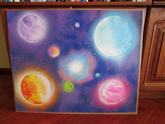 Large Galaxy Spray Paint Art Galaxy Painting Space Decor Space Poster Space Wall Art Kids Room Decor Girls Room Decor Nursery Decor Unique