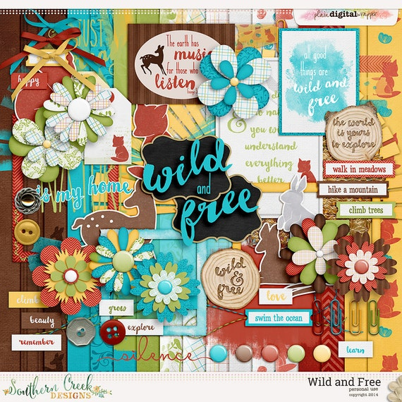 Wild And Free Digital Scrapbooking Kit 17 Paper 60 Etsy