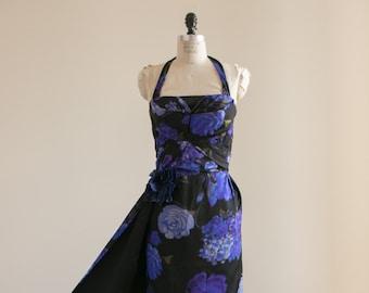Elegant Vintage 1960's Black Satin Halter Evening Gown with Cobalt Blue Floral Print