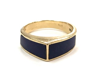 Royal Blue Lapis Lazuli and 14k Yellow Gold Unusal Modernist Pointed Ring Marked JMG