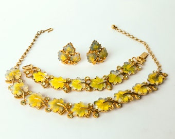 Radiant Florenza Vintage 1950s 1960s poured glass leaf costume jewelry set necklace bracelet clipon earrings