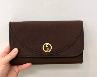 bf2a4417cd8f Vintage 1970s Gucci Shoulder Bag or Clutch in Brown Fabric with Monogram  Logo and Gold Chain Hardware Like New Crossbody Made in Italy