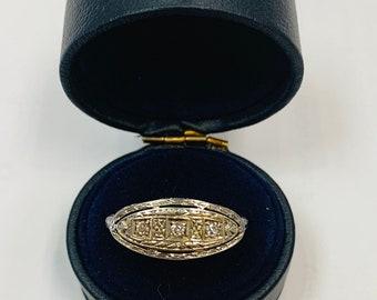 4b42fc6b6f0c Vintage authentic 1920s Art Deco 14k White Gold Filigree and 3 Diamond  statement ring