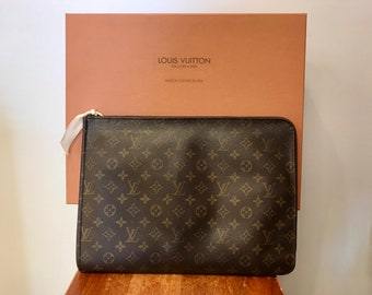 0aafaf132e Vintage Louis Vuitton Monogram Portfolio or Laptop Case with Original Box Dust  Bag and Tissue 871 TH Designer Made in France January 1987