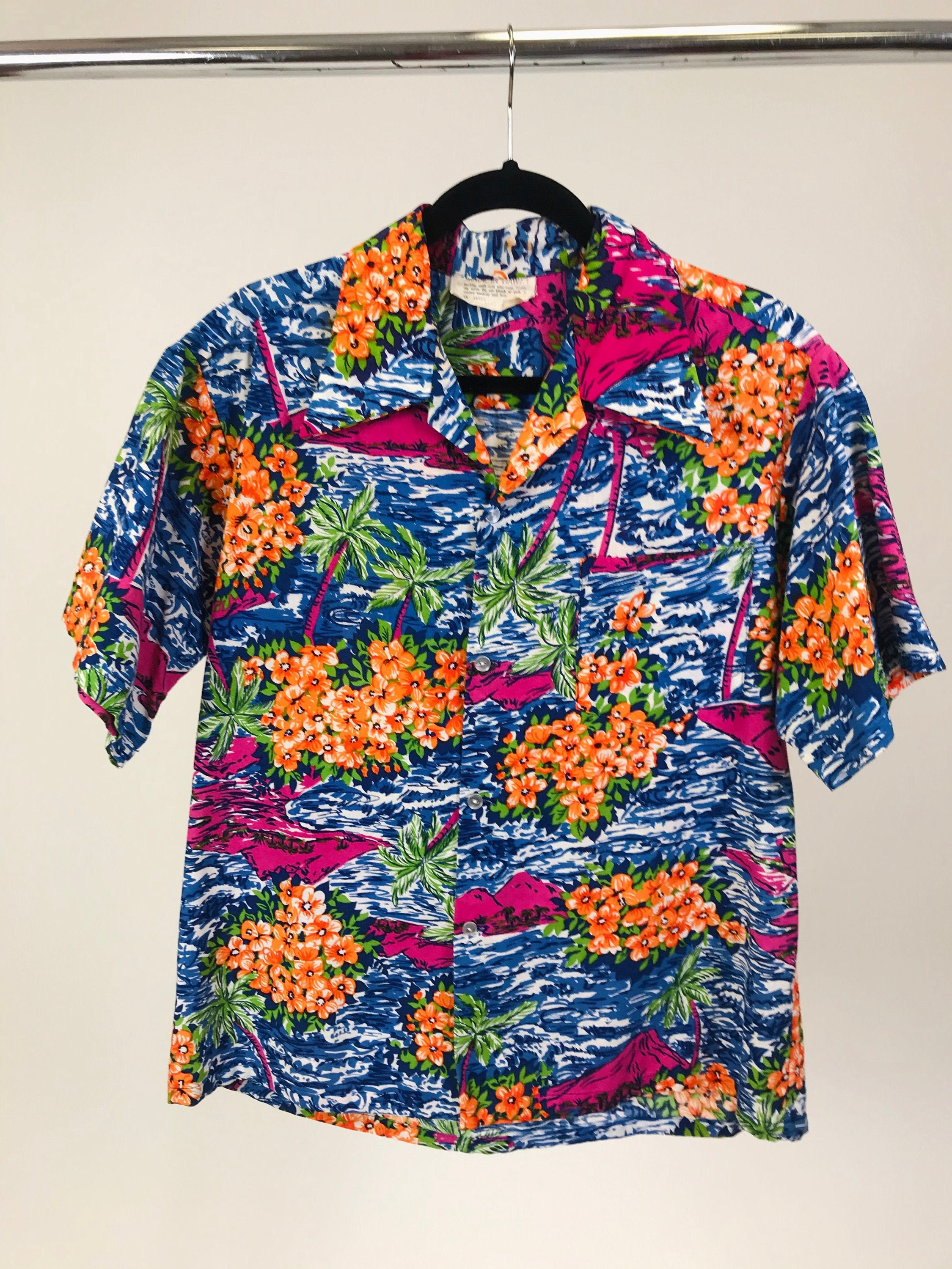 1940s Men's Shirts, Sweaters, Vests Vintage 1940S-1950S Mens Cotton Hawaiian Shirt With Orange Hibiscus  Palm Trees  Resort Beach Wear Made in Hawaii Unisex $15.00 AT vintagedancer.com