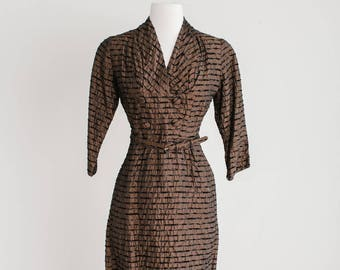 1960's Wiggle Dress Modern size 12/14 with 3/4 sleeves and gold accents