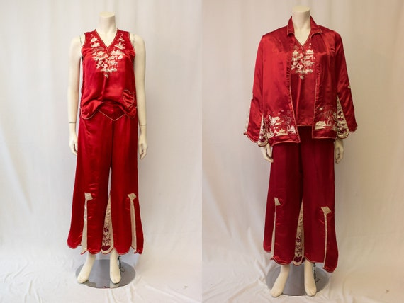 RARE Vintage 1920s 1930s Red Silk Embroidered Chin