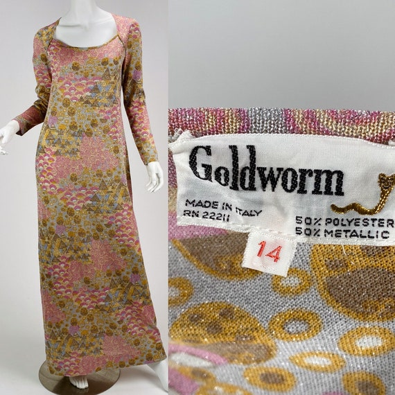 Vintage 1970s Goldworm optical print sparkle maxi