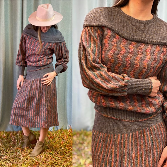 Vintage 1980s Lucey Harley Two Piece Knit Set with
