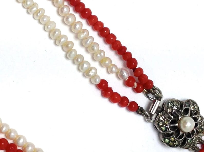 Vintage Multi Strand small pearl and red coral beaded necklace with silver Marcasite and Pearl clasp