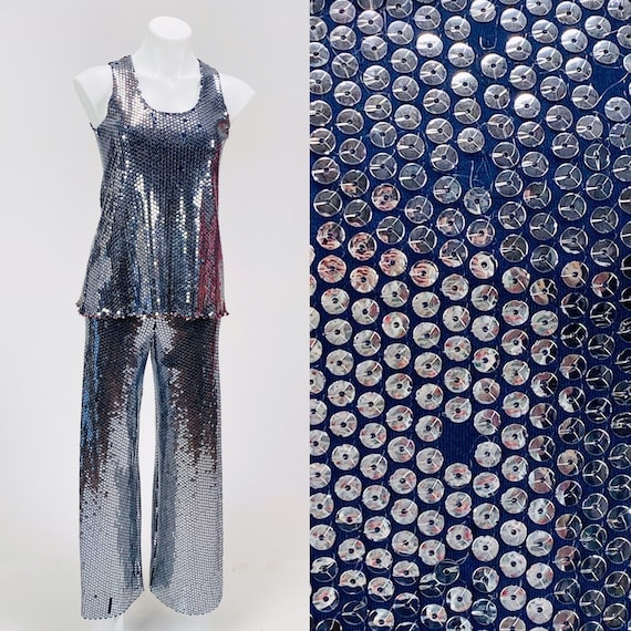 Vintage 1970s Stephen Burrows Navy Sequined Jersey