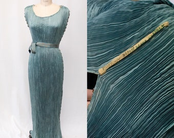 Rare 1910s Edwardian Original Mariano Fortuny Silk Micro Pleat Delphos Gown with Original Gold Printed Belt and Glass Bead Trim LOCAL PICKUP