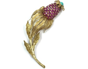 Solid 18k yellow gold Ruby, turquoise, cone flower pin or pendant