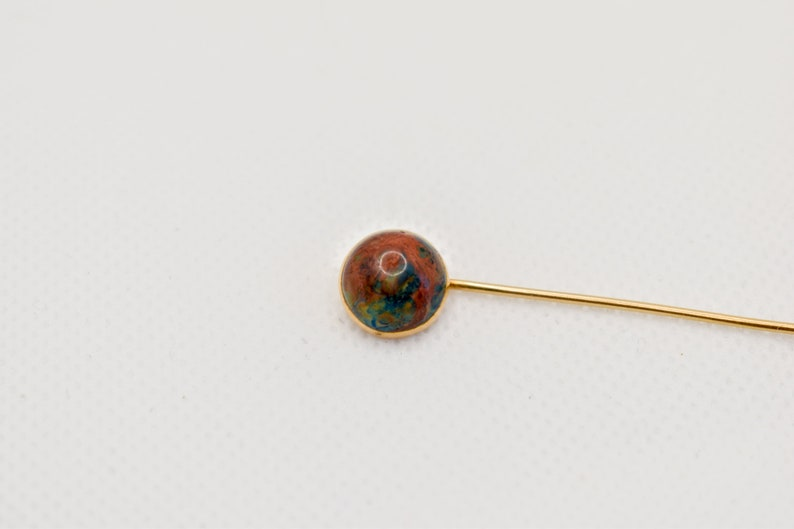 Hat Pin Lapel Pin Brooch Antique Vintage 10k Yellow Gold Bloodstone Cabochon Stick Pin Groomsman Gift Unisex Gift Father/'s Day