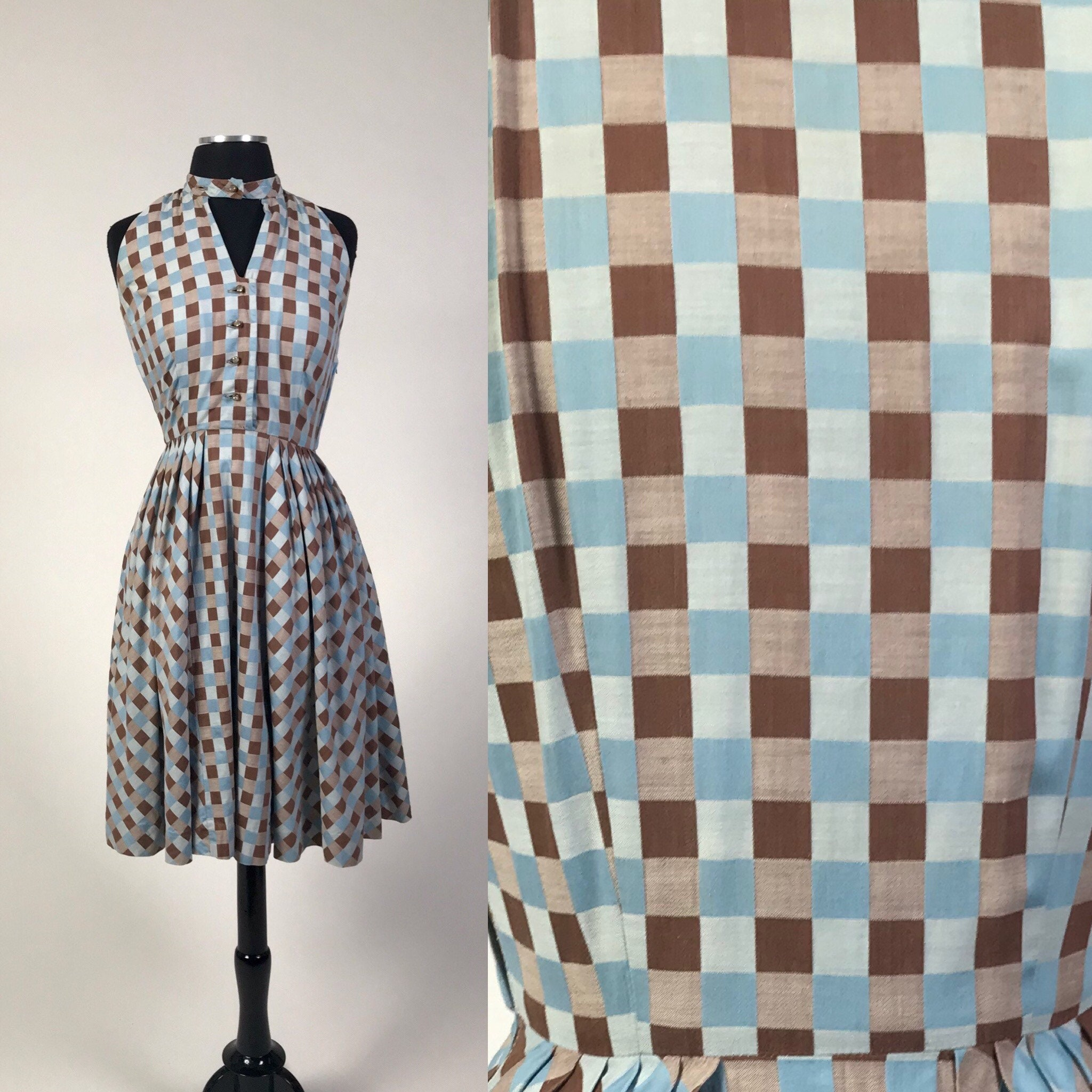 Vintage Scarf Styles -1920s to 1960s Vintage 1940S Cotton Blue  Brown Checker Plaid Fit Flare Dress Matching Scarf Or Shawl Glass Rhinestone Buttons $45.00 AT vintagedancer.com
