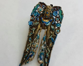 Vintage 1930s Colorful enamel and Gold tone Dragon Dress Clip Made In China Floral Motif