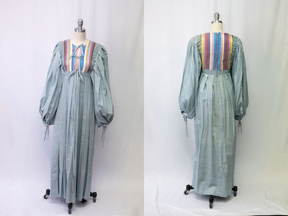 Vintage 1970s Thea Porter Couture Chambray Maxi Dr