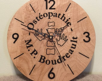 Hand engraved Clock - custom - made of solid Maple wood