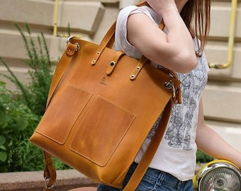 6cda7164c038 Crossbody leather tote bag with zipper - Large tote bag with pockets –  Laptop bag women