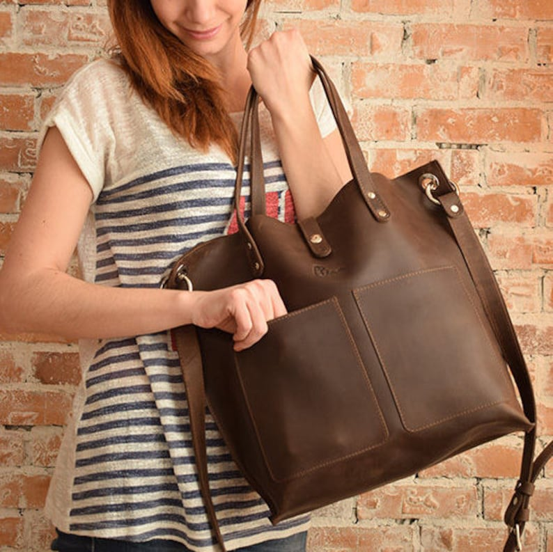 752524fe0aa Brown leather bag, Leather Tote bag, Large leather tote, Big leather tote,  Natural leather tote bag, Handmade tote, Brown leather tote