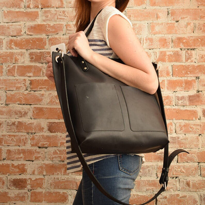 bd1056971e38 Personalize Full Grain leather TOTE BAG with zipper and 2