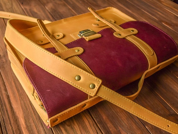 Crazy Horse Oiled Leather Attache Tablet Bag Briefcase Clutch Passport Card Case