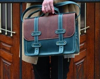 CUSTOM leather laptop briefcase women/Crossbody briefcase women