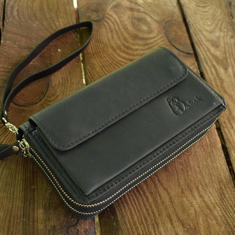 c69bc87056367 Reißverschluss um Portemonnaie schwarze Leder-Geldbörse