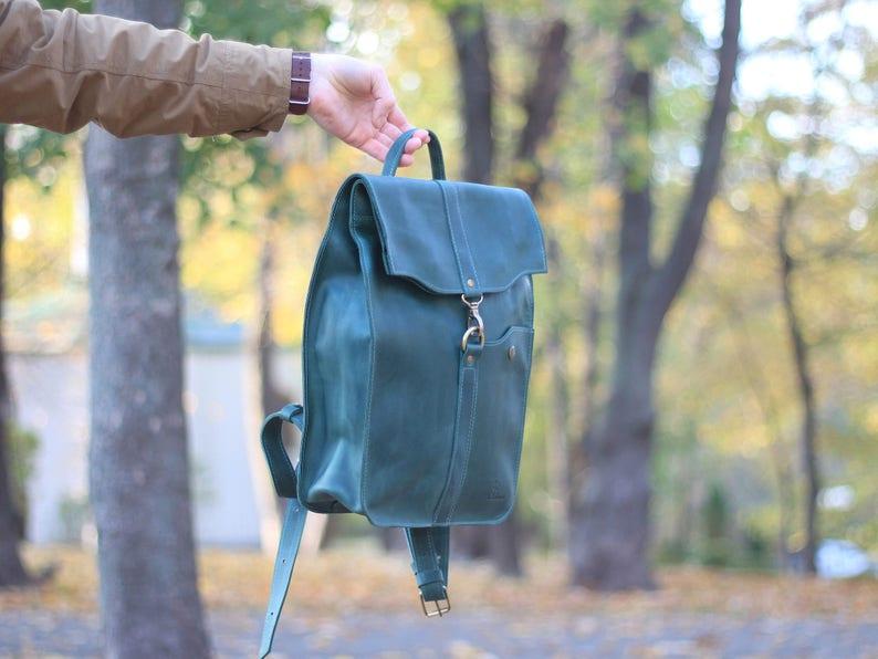 Laptop back pack,Green leather bag,Green back pack,Backpack leather,Womens bag,Mens bag,Leather satchel bag,Backpack for women,Bag for men