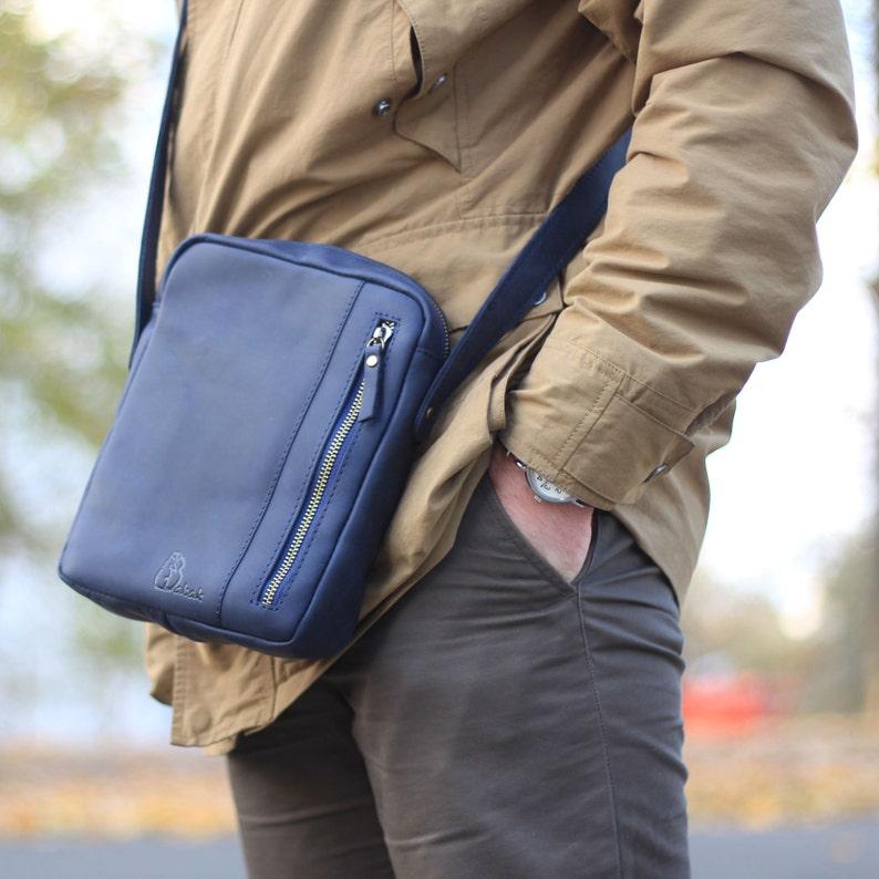 Leather Crossbody Men Leather Bag Handmade Bag Blue Leather Etsy