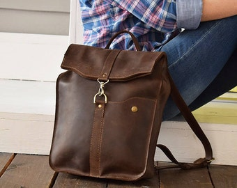 Brown Travel backpack, Laptop backpack, Brown Leather Backpack, Leather Rucksack, City Knapsack,Book Bag, Youth Rucksack, Student Backpack