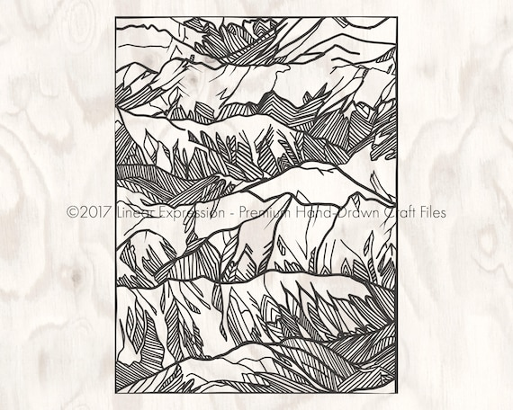 Zentangle Style Mountains Svg Png Cut File Rocky Mountain Peak Wilderness Clip Art For Silhouette Cricut Free Coloring Page Pdf