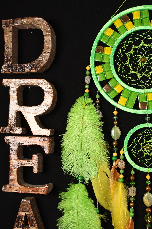 Green Dreamcatcher Yellow Mosaic Dream Catcher Large Dreamcatcher New Dream