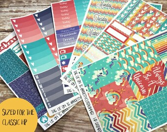 Planner Stickers - Fits Happy Planner Classic - Rainbow Unicorn Planner Stickers - Ala Carte Weekly Sticker Kit - Summer Planner Stickers