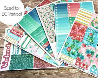 Planner Stickers - Fits Erin Condren Vertical - Tropical Summer Planner Stickers - Ala Carte Weekly Sticker Kit - Summer Succulent stickers
