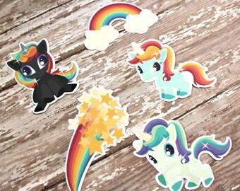Planner Die Cuts - Die Cut Set - Rainbow Unicorn Die Cuts - Unicorn Die Cut Set - Rainbow Die Cuts - Rainbows and Unicorns - Unicorn Die Cut