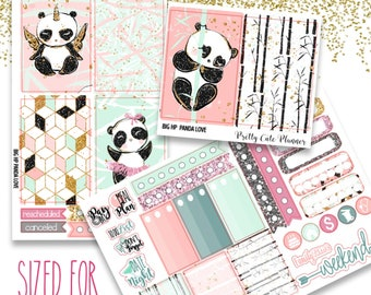 Panda Love BIG Happy Planner Planner Stickers - Weekly Planner Sticker Set - Functional stickers - Panda planner stickers - Panda Stickers