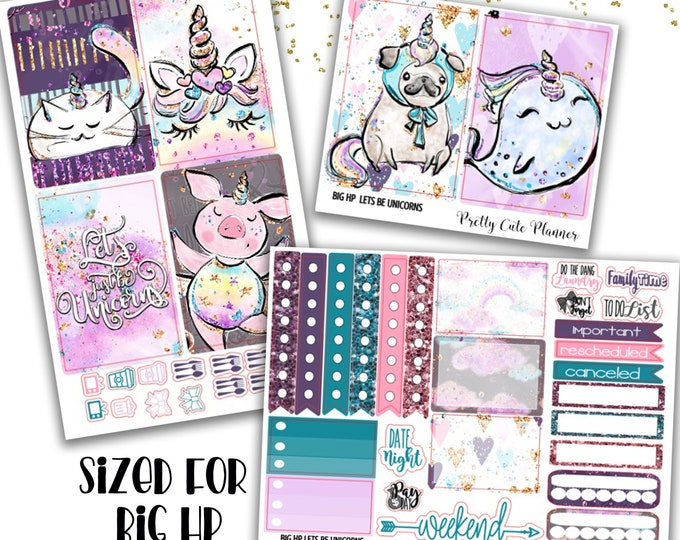 Featured listing image: Lets Be Unicorns BIG Happy Planner Planner Stickers - Weekly Planner Sticker Set - Functional stickers - Unicorn Planner Stickers - Unicorn