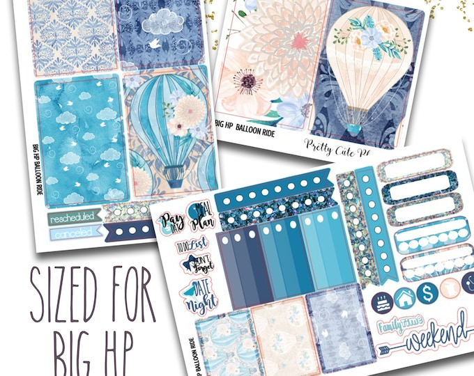 Featured listing image: Hot Air Balloon Ride BIG Happy Planner Planner Stickers - Weekly Planner Sticker Set - Functional stickers - Hot Air Balloon Stickers