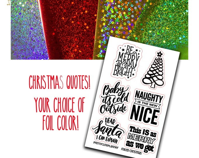 Featured listing image: Foiled Christmas Quote Stickers - Foiled Fall - Baby It's Cold outside - Functional sticker - Foiled Functional stickers - Christmas