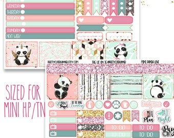 Mini Happy Planner Stickers - Personal Planner Stickers - Travelers Notebook Stickers - BuJo Stickers - Bullet Journaling - Panda Stickers