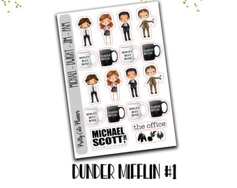 The office planner stickers - Jim and Pam - Michael Scott paper company stickers - Dunder Mifflin Paper Company - The worlds best boss