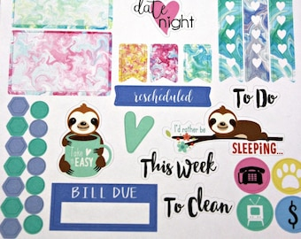 Planner Stickers Sampler - Pastel Sloth Planner Stickers - Happy Planner - Day Designer - Functional stickers - Fits Erin Condren - Sampler