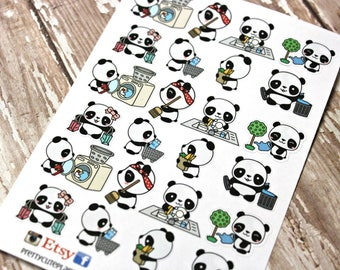 Panda Stickers - Panda Planner Stickers - Character Stickers - Chore stickers - Laundry Panda - Gardening Panda - Trash Panda - Sweep Panda