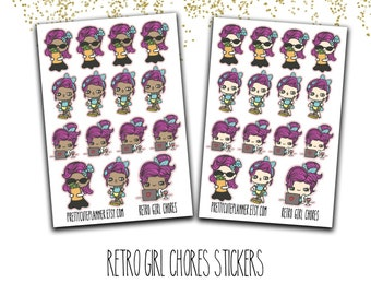 Retro Girl Chore stickers - Doodle Girls - Your Choice of Skin Tones - Chore stickers - Shopping stickers - Cleaning Stickers - Work sticker
