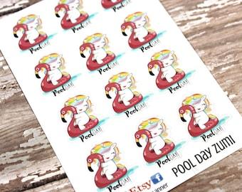 Unicorn Stickers - Unicorn Planner Stickers - Character Stickers - Pool Day Zumi - Summer Unicorn - Pool Day Unicorn - Swimming sticker