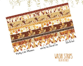 Fall in the Forest Washi Sticker Strips - Personal Planner Stickers - Travelers Notebook Stickers - BuJo Stickers - Bullet Journal - Washi