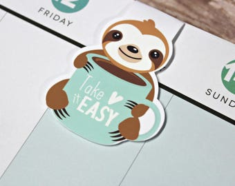 Sloth Bookmark - Magnetic Planner Bookmark - Planner Clip - Sloth Planner Clip - Magnetic Sloth Bookmark - Sloth Coffee Planner Clip
